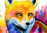 Fox watercolor painting by Pixie Cold