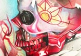 Muerte skull and rose color drawing by Sergey Shanko