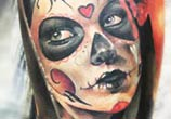 Muerte with rose tattoo by Sergey Shanko