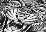 Cosmic Tiger pen drawing by Sneaky Studios