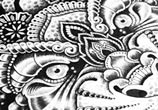 Detail Cosmic tiger marker drawing by Sneaky Studios