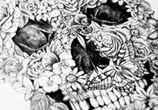 Floral skull drawing by Sneaky Studios