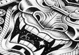 Samurai mask marker drawing by Sneaky Studios
