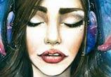 Music watercolor painting by Tanya Shatseva