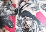 Bird, wolf, rose tattoo by Timur Lysenko
