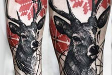 Deer tattoo by Timur Lysenko