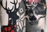 Deer Skull Face tattoo by Timur Lysenko