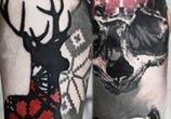 Deer Skull Face tattoo by Timur Lysenko