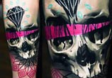 Diamond and skull tattoo by Timur Lysenko