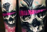 Diamond and skull tattoo by Timur Lysenko