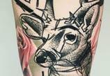 Dotwork deer 2 tattoo by Timur Lysenko