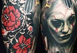 Face, geometry and Bird tattoo by Timur Lysenko