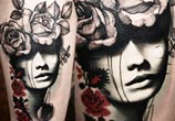 Face with flowers tattoo by Timur Lysenko
