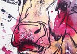 Pink Cow watercolor painting by Tori Ratcliffe Art