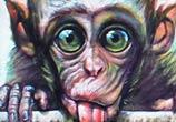 Green day monkey streetart by Wild Drawing