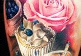 Cakes and coffee tattoo by Zsofia Belteczky