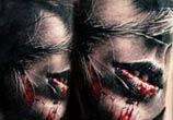 Dark face tattoo by Zsofia Belteczky