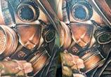 Gun Man with mask tattoo by Zsofia Belteczky