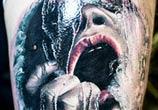 Horror face tattoo by Zsofia Belteczky