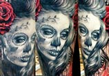 Muerte black and red tattoo by Zsofia Belteczky