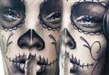 Muerte black and white tattoo by Zsofia Belteczky